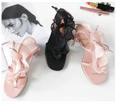 【618好康鉅惠】中跟百搭性感真皮夏季仙女的鞋舒適復古粗跟