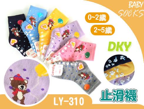 LY-310 短統寶寶襪-6雙 汽球小熊 止滑童襪 0~2歲 2~5歲 台灣製