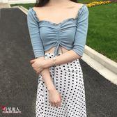 蜜桃粉一字領中袖上衣夏季露肩t恤女褶皺抽繩T豆沙藍  全店88折特惠