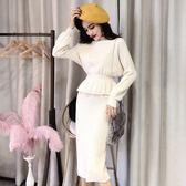 針織套裝 女秋冬半高領毛衣裙子兩件式包臀半身裙 糖果時尚