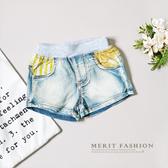 黃色系條紋拼接牛仔短褲復古仿舊美式休閒短褲牛仔小童夏天 哎北比
