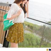 OrangeBear《CA972》俏麗碎花拼接荷葉裙襬腰圍鬆緊褲裙.2色--適 2L~6L
