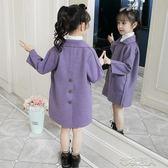兒童外套 女童外套新款春秋中大兒童洋氣秋冬裝網紅小女孩毛呢子大衣潮 布衣潮人