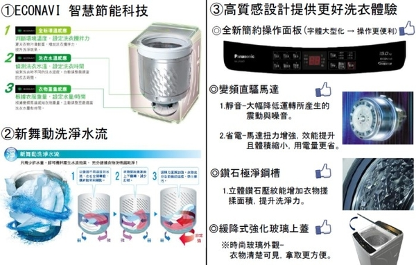 【佳麗寶】-(Panasonic國際牌)15kg變頻直立洗衣機【NA-V150GT-L】