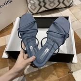 拖鞋女外穿百搭夏一字拖沙灘度假學生防滑羅馬鞋【愛物及屋】