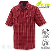 維特FIT 男款吸濕排汗短袖格紋襯衫 IS1203 暗紅色 排汗襯衫 格紋襯衫 防曬襯衫 OUTDOOR NICE