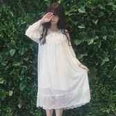 夏新款女裝少女日系韓版清新公主睡裙長袖蕾絲可愛睡衣長裙連衣裙