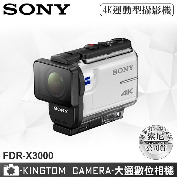SONY FDR-X3000 4K 運動型攝影機 附防水殼公司貨再送64G卡+專用電池+座充超值組