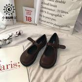 韓國ins氣質復古單鞋女學生百搭chic小皮鞋街拍皮帶扣PU娃娃鞋夏 米娜小鋪