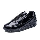 漆皮亮面運動休閒鞋韓版男士潮鞋子氣墊增高跑步鞋內增高低筒板鞋