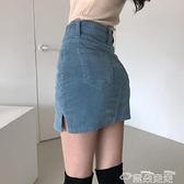 包臀裙韓國chic 小眾復古高腰修身顯腿長包臀開叉燈芯絨A 字裙褲半身裙女雲朵上新