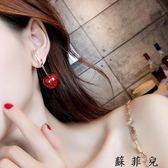 紅色櫻桃耳環韓國氣質長款耳飾