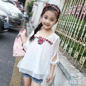 超洋氣女童上衣短袖雪紡6韓版5寬鬆8刺繡9歲小女孩白色中袖t7分袖 qf25170【pink領袖衣社】