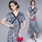 中大尺碼洋裝連身裙~復古V領荷葉袖印花長裙小晚禮服連身裙H405A莎菲娜