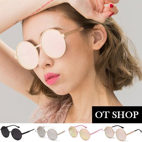 OT SHOP太陽眼鏡‧抗UV400圓框太陽眼鏡新款范冰冰明星同款全黑/反光黑/玫瑰金/粉反光N18