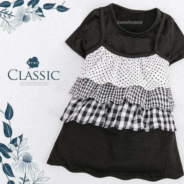 黑白香榭波點格紋蛋糕假兩件上衣小洋裝(250722)★水娃娃時尚童裝★