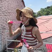 韓版蕾絲綁帶大沿草帽復