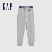 Gap男童 Logo簡約風格鬆緊針織褲 618784-淺灰色