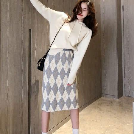 針織菱格紋連帽窄裙 套裝   ♥ onetwo♥