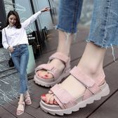 涼鞋春夏季新款休閒鞋女鞋子涼鞋韓版潮魔術貼簡約露趾平跟低筒鞋