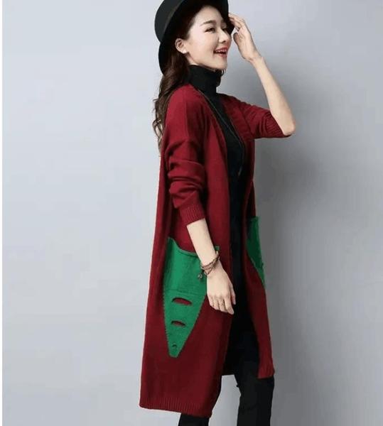 毛衣女新款秋裝開衫中長款針織衫女韓版寬鬆大碼女裝外套HX1380【麗人雅苑】