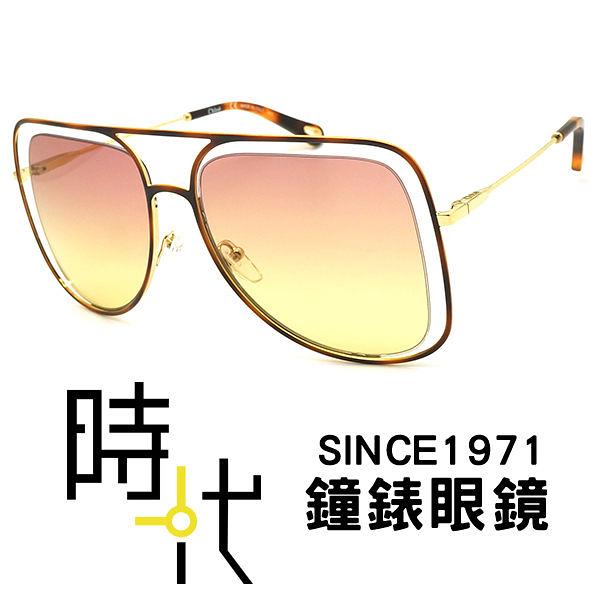 【台南 時代眼鏡 Chloé】太陽眼鏡墨鏡 CE130S 239 57mm 法國時尚 橢圓方框墨鏡 漸層粉黃 金框