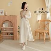 長袖 洋裝 Space Picnic|素面拼接條紋襯衫領洋裝-附綁帶(現+預)【C21011066】