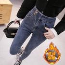牛仔褲女年新款修身顯瘦小腳高腰窄管褲子秋冬季加絨【快速出貨】