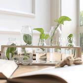 花瓶 簡約透明玻璃小花瓶花盆辦公桌擺件 巴黎春天