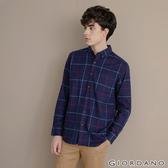 【GIORDANO】男裝法蘭絨溫暖磨毛長袖襯衫-21 寶藍/紅/藍格紋