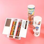全館83折 同款流沙網紅文具盒多功能小清新筆盒男女孩可愛透明幼兒園圓筒筆袋創意男孩兒童小學