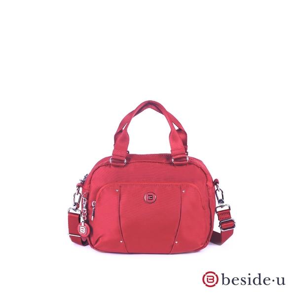 beside u BLL 防盜刷金屬點綴多格層小包側背包兩用包- 紅色 原廠公司貨