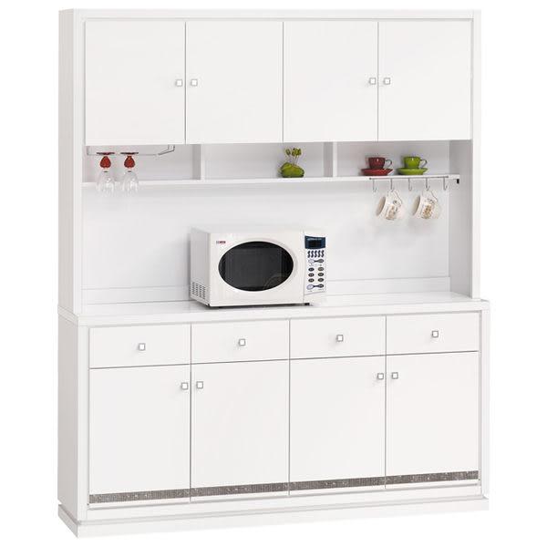 【時尚屋】[UZ5]詠佳5.3尺水鑽木面碗碟櫃組919-1/台灣製造/免組裝/免運費/餐櫃/收納櫃