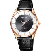 CITIZEN 星辰 光動能城市手錶-玫瑰金框x黑/36mm BJ6482-04E