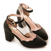 amai舒適首選-浪漫花瓣尖頭繫踝粗跟鞋 黑