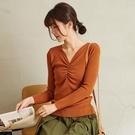 【慢。生活】V領抓皺坑條針織衫 9806 FREE咖啡色