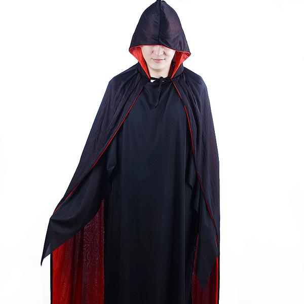 成人萬聖節 化妝舞會服裝 黑紅色死神造型服 (斗篷+尖叫面具+街舞面具)
