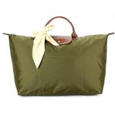 LONGCHAMP 短提把大型摺疊水餃包(卡其綠-含帕巾)480102-A23