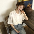 短袖襯衫 襯衣春季新款韓版寬鬆短袖白色襯衫女設計感小眾百搭上衣學生