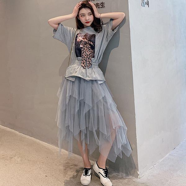 絕版出清 韓系蝴蝶結不規則裙套裝短袖裙裝