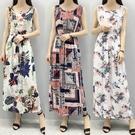 夏季洋裝海灘連衣裙碎花沙灘度假裙無袖綿綢長裙子(31色) 全?85折