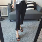 【降價兩天】西裝褲 寬鬆直筒褲 休閒黑色OL夏季薄款胖mm 大尺碼九分褲