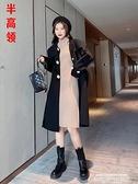 毛衣洋裝 配大衣長袖針織連身裙女秋冬新款氣質黑色內搭中長款打底衫毛衣裙 新品