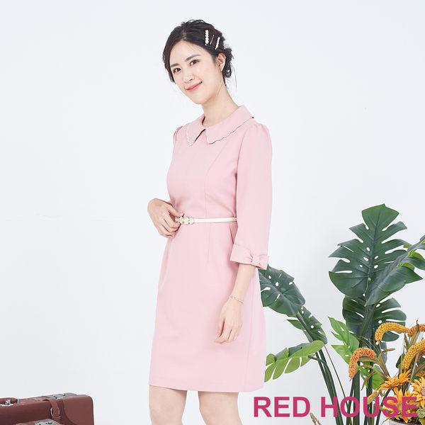 RED HOUSE-蕾赫斯-花邊領蝴蝶結袖洋裝(粉色)