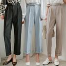 現貨-MIUSTAR 顯瘦!附皮帶褲管反褶鬆緊腰西裝褲(共3色,S-L)【NJ0412】