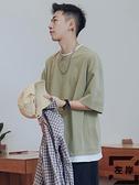 假兩件寬鬆素色短袖T恤夏季日系潮牌半袖衣服【左岸男裝】