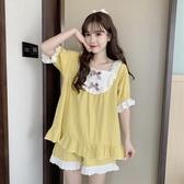 睡衣 夏季新款甜美蝴蝶結設計感薄款可外穿方領短袖女裝兩件套 - 風尚3C