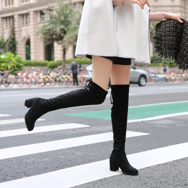 過膝靴高跟靴女2019秋季新款粗跟瘦退長筒彈力高筒棉靴子過膝長靴