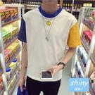 【Y076】shiny藍格子-完美色系.春夏韓版拼色撞色圓領休閒短袖T恤