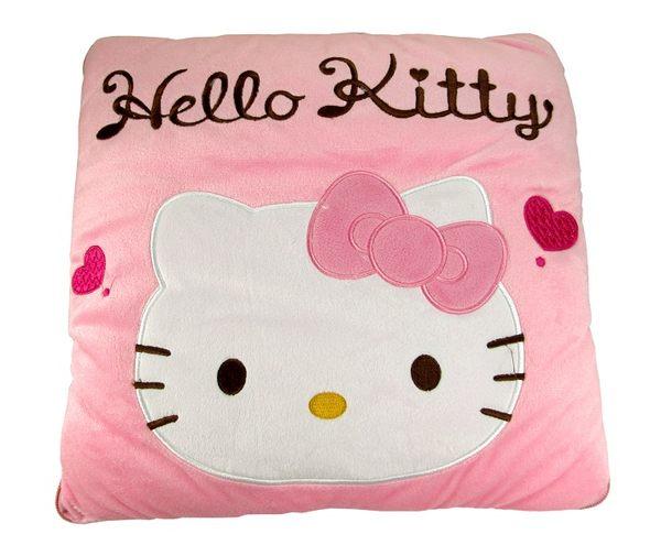 【卡漫城】Hello Kitty 毛毯 抱枕 兩用被 ㊣版 毯子 涼被 靠枕 靠腰墊 枕頭 140 x 104cm